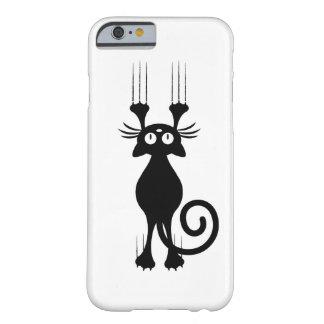 Rasguño lindo del gato negro del dibujo animado funda de iPhone 6 barely there