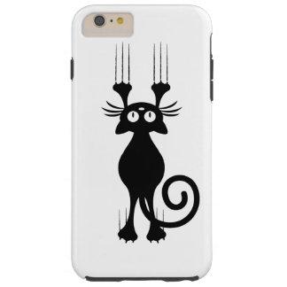 Rasguño lindo del gato negro del dibujo animado funda de iPhone 6 plus tough