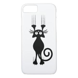 Rasguño lindo del gato negro del dibujo animado funda iPhone 7