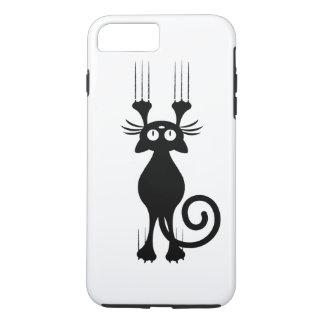 Rasguño lindo del gato negro del dibujo animado funda iPhone 7 plus