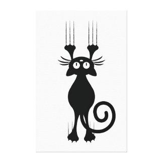 Rasguño lindo del gato negro del dibujo animado impresión en lienzo estirada