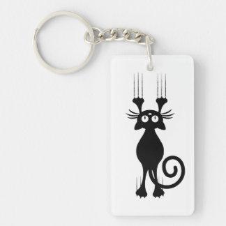 Rasguño lindo del gato negro del dibujo animado llavero rectangular acrílico a doble cara