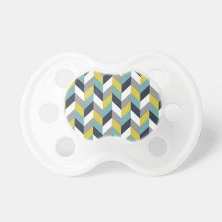 Raspa de arenque azulverde gris amarilla Chevron d Chupete De Bebé