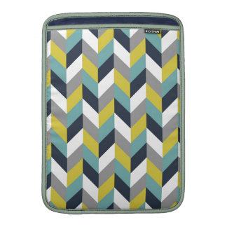 Raspa de arenque azulverde gris amarilla Chevron d Funda Macbook Air