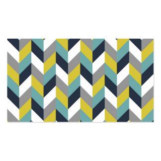 Raspa de arenque azulverde gris amarilla Chevron d Tarjetas Personales
