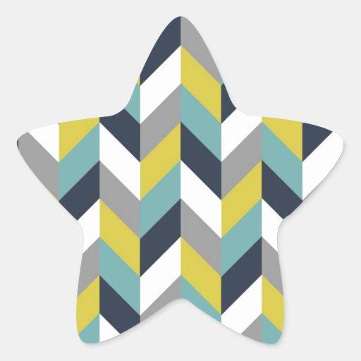 Raspa de arenque azulverde gris amarilla Chevron Pegatinas Forma De Estrellaes Personalizadas