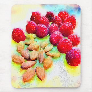 Raspberries and Almonds Watercolor Mouse Pad