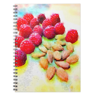 Raspberries and Almonds Watercolor Spiral Notebook