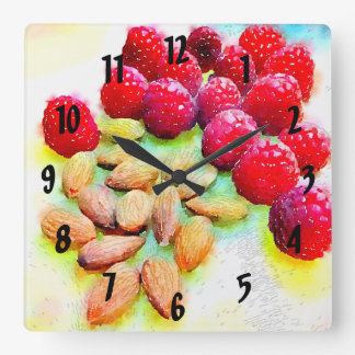 Raspberries and Almonds Watercolor Square Wall Clock
