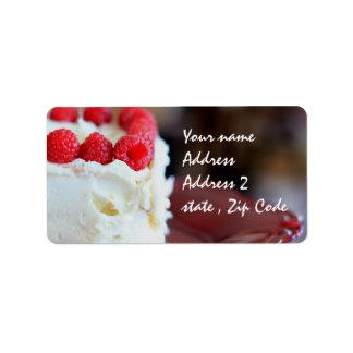 Raspberries and cream cake label