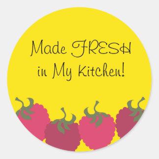 raspberries fruit baking kitchen gift tag stick... classic round sticker