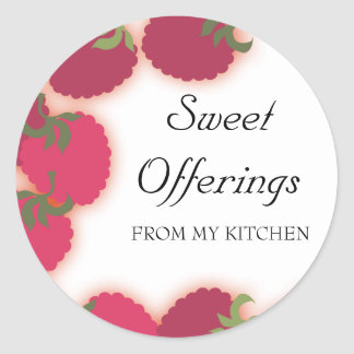 raspberries glow fruit baking ktichen gift stic... classic round sticker