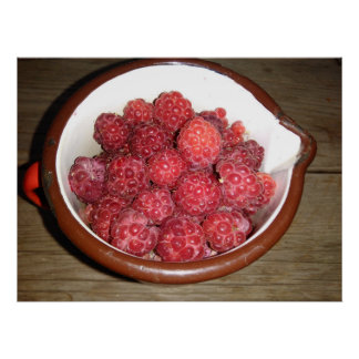 Raspberries In A Vintage Enamel Cup Poster