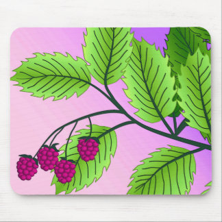 Raspberries on a branch mouse pad