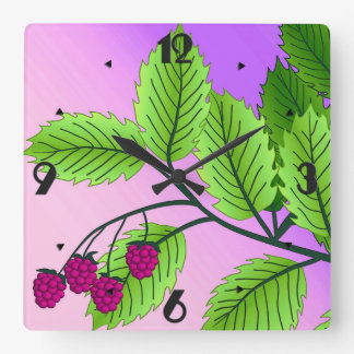Raspberries on a branch square wall clock