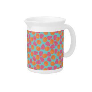 Raspberries Tangerines on Bright Turquoise Blue Beverage Pitcher