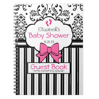 Raspberry and Black Damask Baby Shower Guest Book