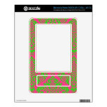 Raspberry and Lime Damask Decal For NOOK