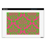 """Raspberry and Lime Damask Decals For 15"""" Laptops"""