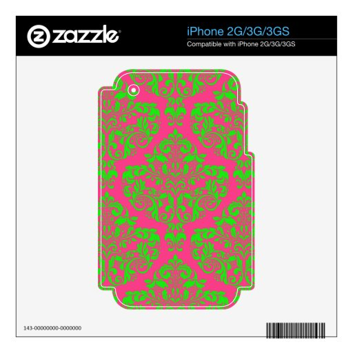 Raspberry and Lime Damask Skins For The iPhone 3GS