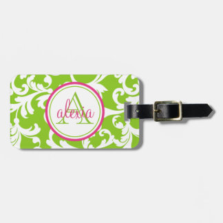 Raspberry and Lime Monogrammed Damask Print Bag Tag