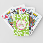 Raspberry and Lime Monogrammed Damask Print Bicycle Playing Cards