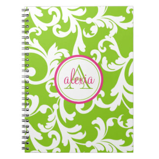Raspberry and Lime Monogrammed Damask Print Spiral Notebooks