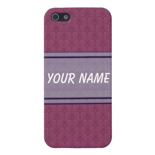 Raspberry and Mauve  Damask Iphone 5 Case