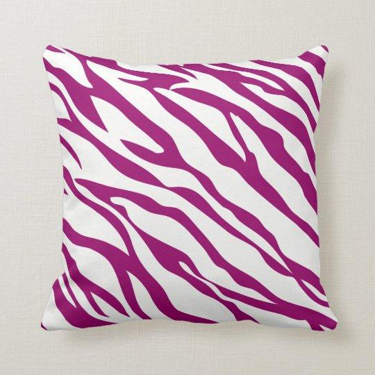 Raspberry and Off-White Zebra Design Pillow