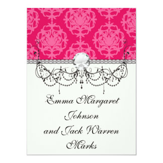 Raspberry and pink damask 6.5x8.75 paper invitation card