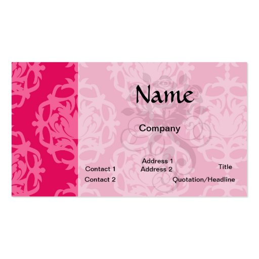 Raspberry and pink damask Double-Sided standard business cards (Pack of 100)