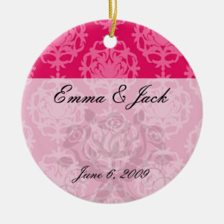 Raspberry and pink damask ceramic ornament