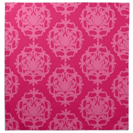 Raspberry and pink damask cloth napkins