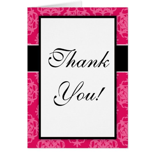 Raspberry and pink damask design card