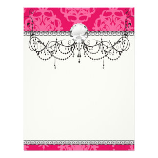 Raspberry and pink damask flyer design