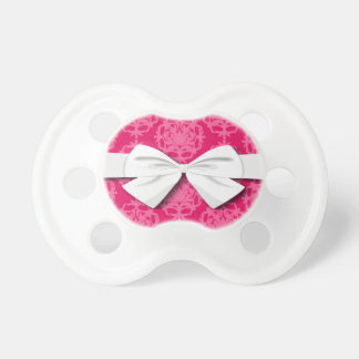 Raspberry and pink damask pacifier