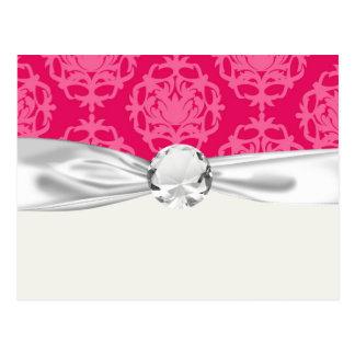 Raspberry and pink damask postcard