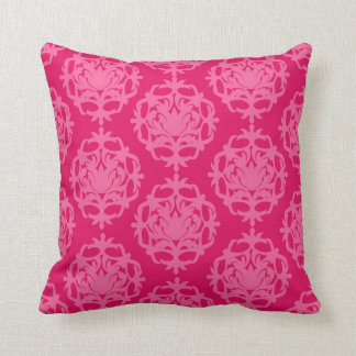 Raspberry and pink damask throw pillow