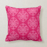 Raspberry and pink damask throw pillows