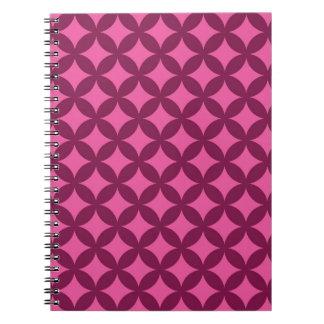 Raspberry and Pink Geocircle Design Spiral Notebooks