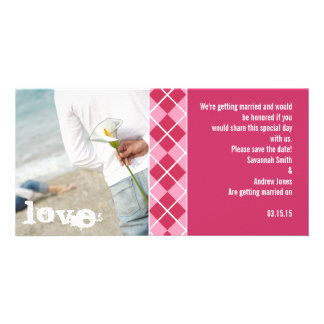 Raspberry Argyle and Pink Save the Date Modern Inv Customized Photo Card