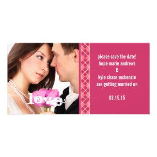 Raspberry Argyle Save The Date Engagement Photo Customized Photo Card