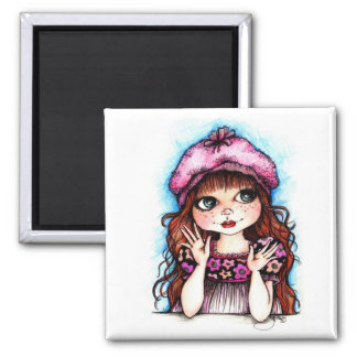 Raspberry Beret...A French Connection 2 Inch Square Magnet