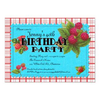Raspberry Birthday Party Invitation