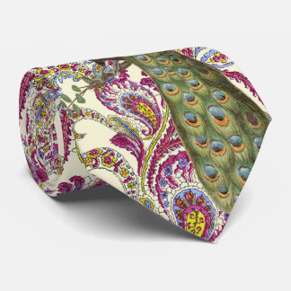 Raspberry Blue Pink Green Paisley Peacock Tie