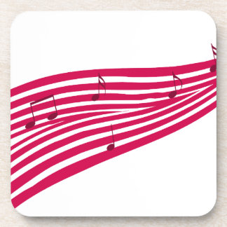Raspberry Boulevard Striped Music Logo Coaster