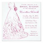"""Raspberry Bridal Shower Invitation 5.25"""" Square Invitation Card"""