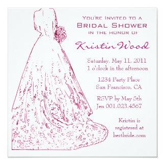 Raspberry Bridal Shower Invitation