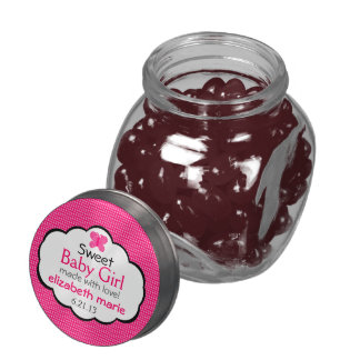 Raspberry Butterfly and Stripes-Baby Shower Jelly Belly Candy Jar