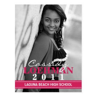 Raspberry Custom Photo Graduation Announcement Postcard